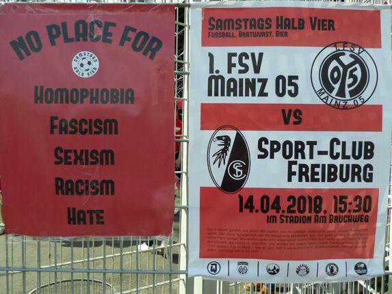 Wunderbare Stadionordnung und Werbeplakat mit den Logos der Fanvereinigungen aus beiden Städten